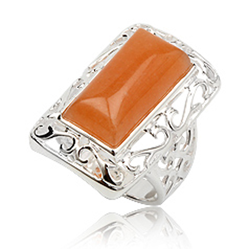 925 zilveren dames ring Orange Quartz Gemstone