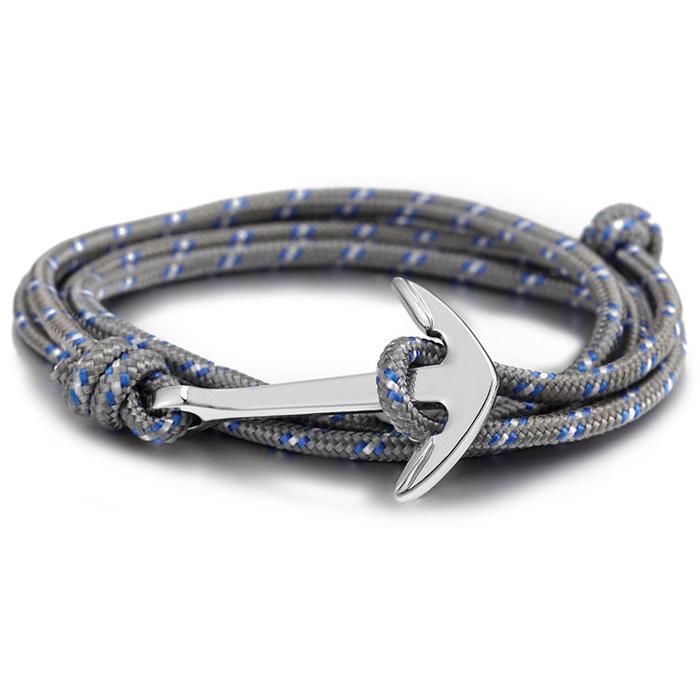 Anker armband Zilver met polyester koord