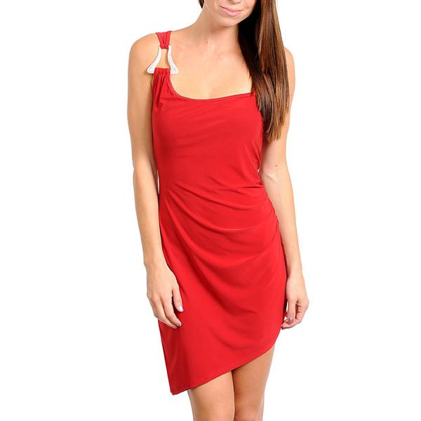 Asymmetrische jurk Rood