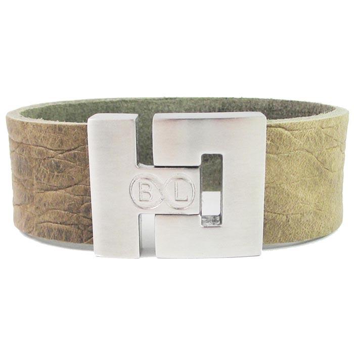 B&L Steel armband leer met edelstaal Bruin BL4210-17