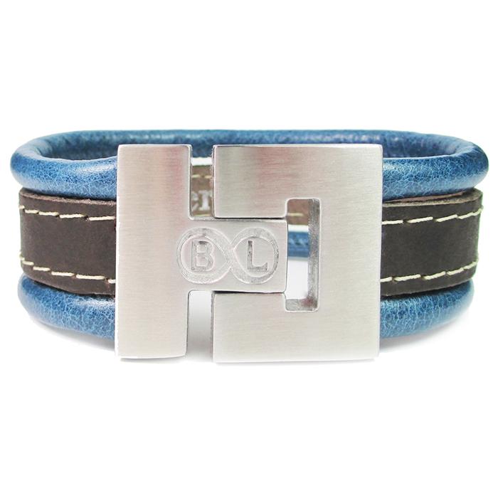 B&L Steel armband Leer met Edelstaal Blauw Bruin BL4054-17 thumbnail