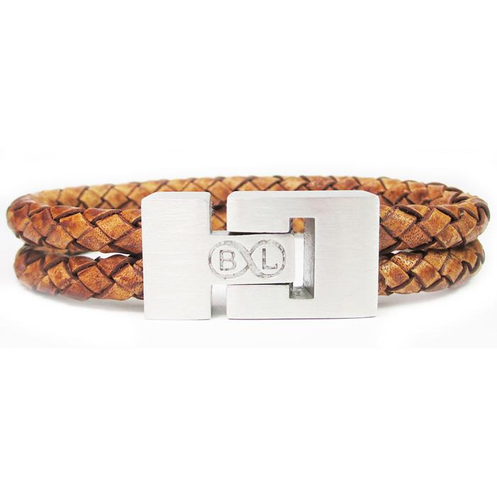 B&L Steel armband Leer met Edelstaal Braided Brown BL4067-19