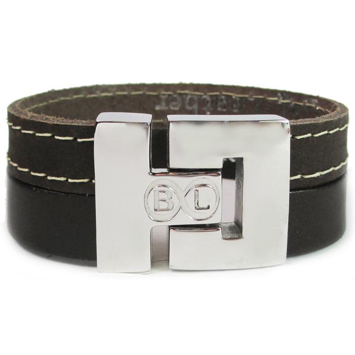 B&L Steel armband Leer met Edelstaal Bruin BL2168-16 thumbnail