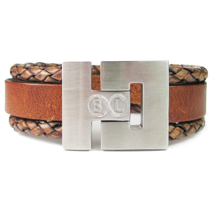 B&L Steel armband Leer met Edelstaal Bruin BL4048-17 thumbnail