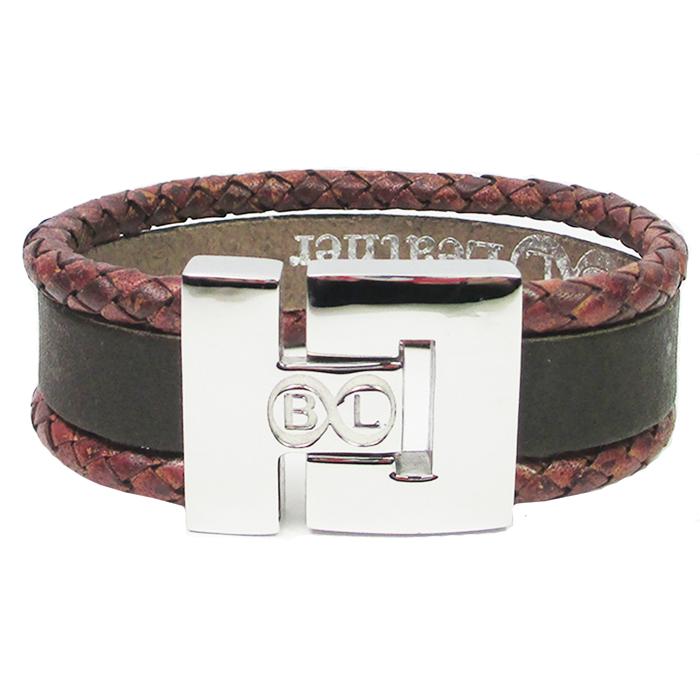 B&L Steel armband leer met edelstaal Bruin BL4122-16
