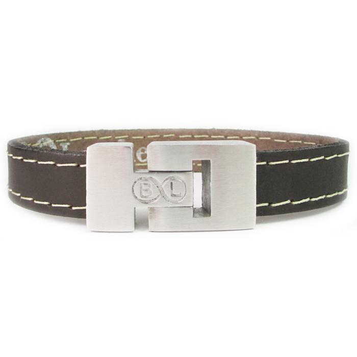 B&L Steel armband Leer met Edelstaal Donkerbruin BL4052-19 thumbnail