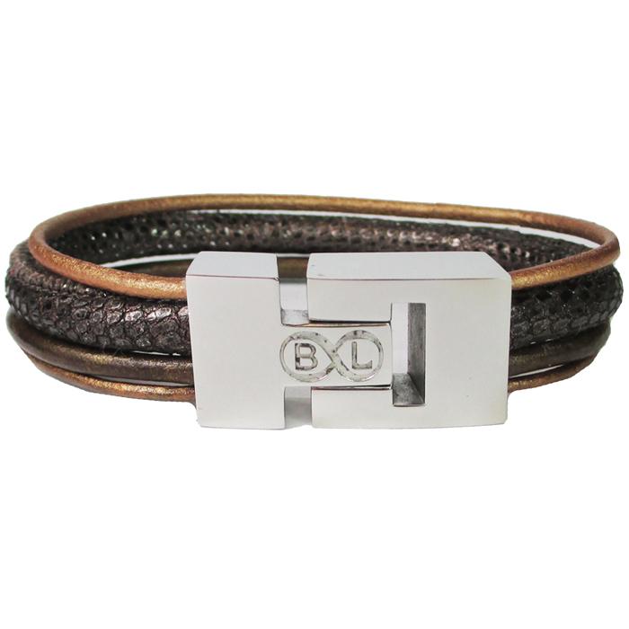 B&L Steel armband Leer met Edelstaal Multi BL4000-18