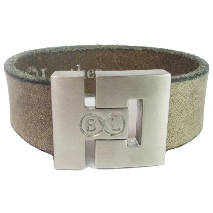 B&L Steel armband Leer met Edelstaal Vintage BL2004-17 thumbnail