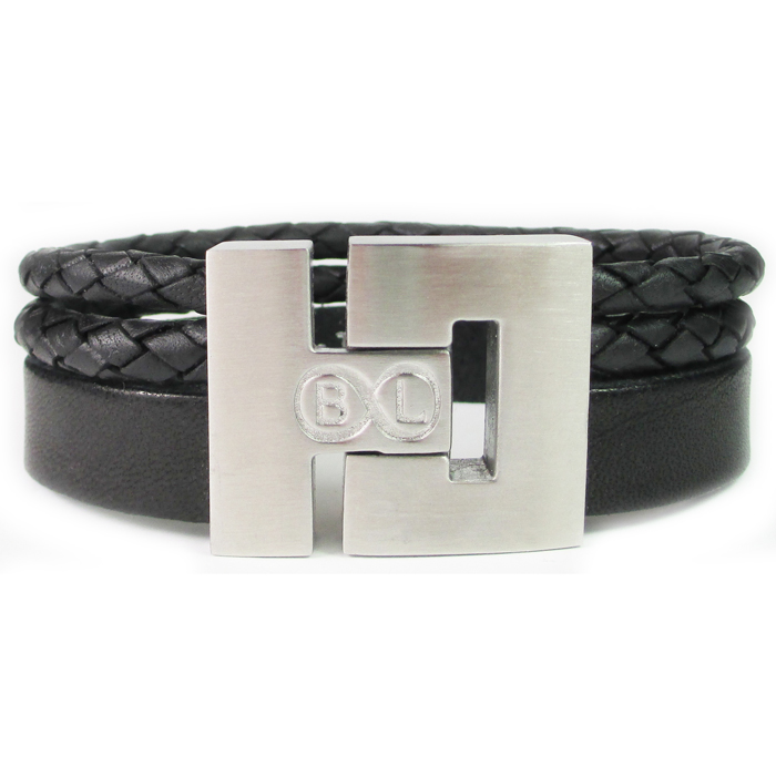 B&L Steel armband Leer met Edelstaal Zwart BL4050