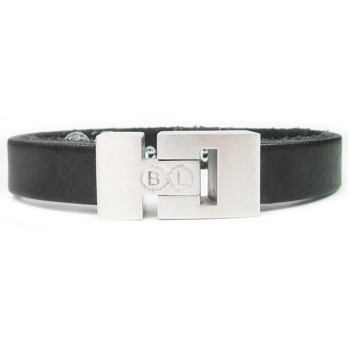 B&L Steel armband Leer met Edelstaal Zwart BL4060-19
