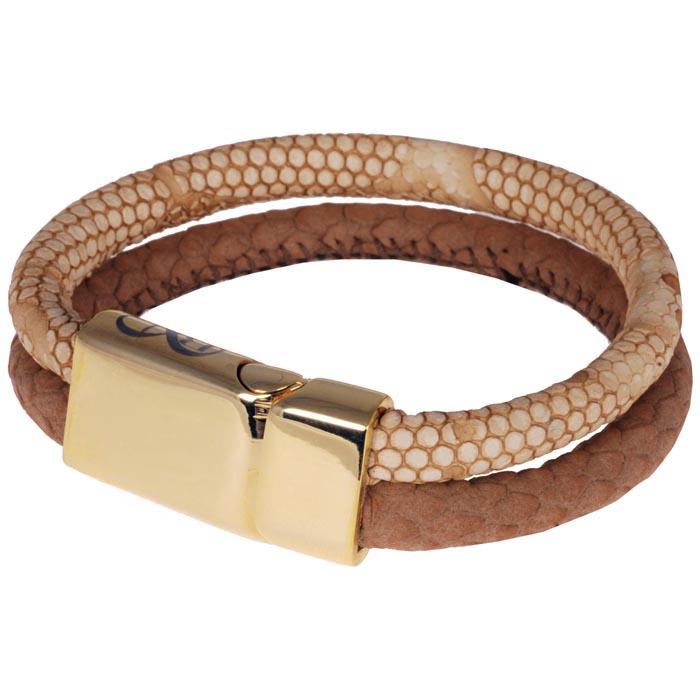 B&L Steel dames armband leer en edelstaal BL4139-04