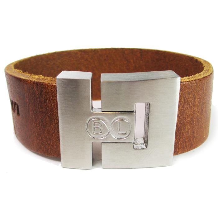 B&L Steel armband Leer met Edelstaal Cognac BL2006 thumbnail