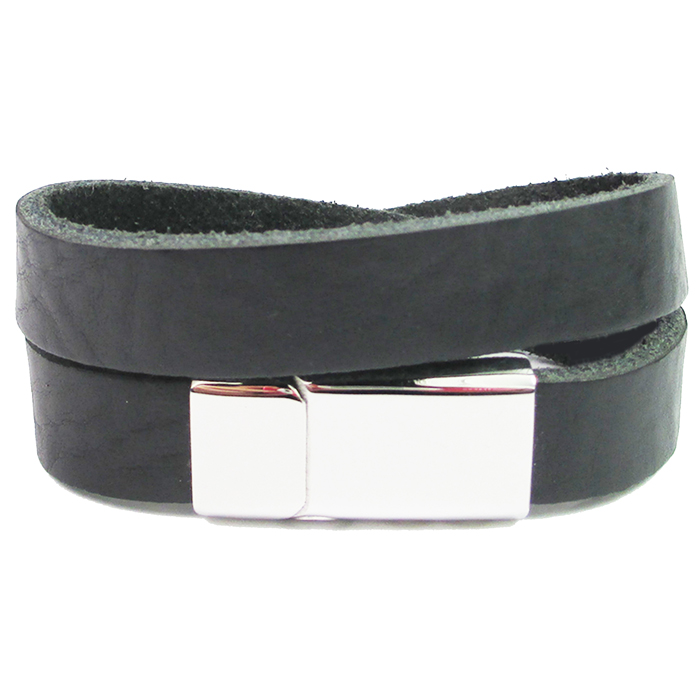 B&L Steel Wrap armband leer met edelstaal BL4109-00