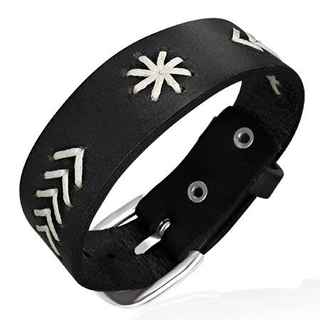 Leren armband 2-Tone Flower Weave BK