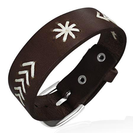 Leren armband 2-Tone Flower Weave