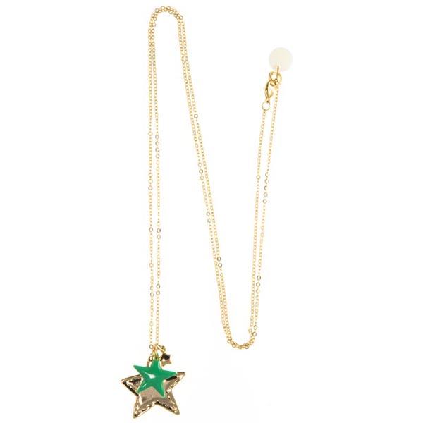 Blinckstar lange ketting verguld, voorzien van drie hangers in de vorm van een ster waarvan een van mint ...