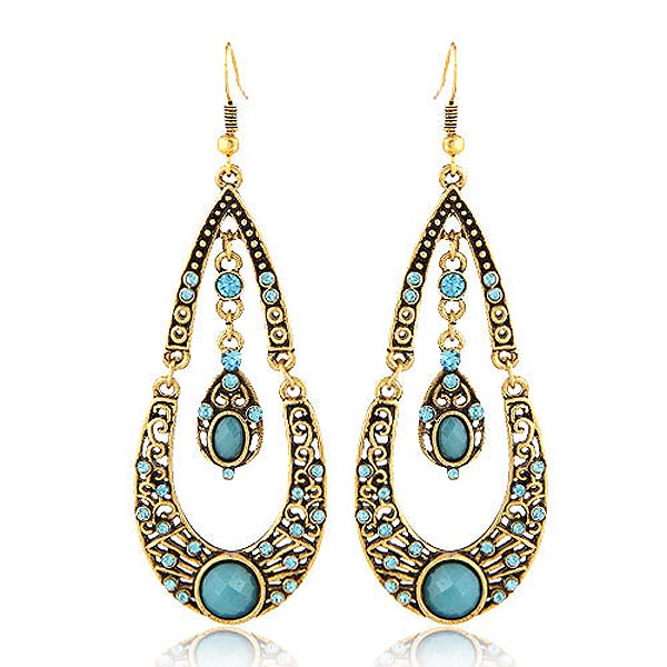 Bohemian Fashion Drop oorbellen Gold with Turquoise