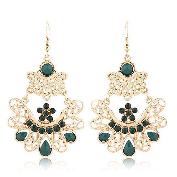 Bohemian oorbellen Gold Green Gemstones