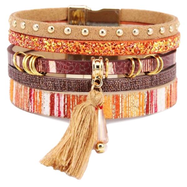 Bohemian Ibiza armband Goud Bruin