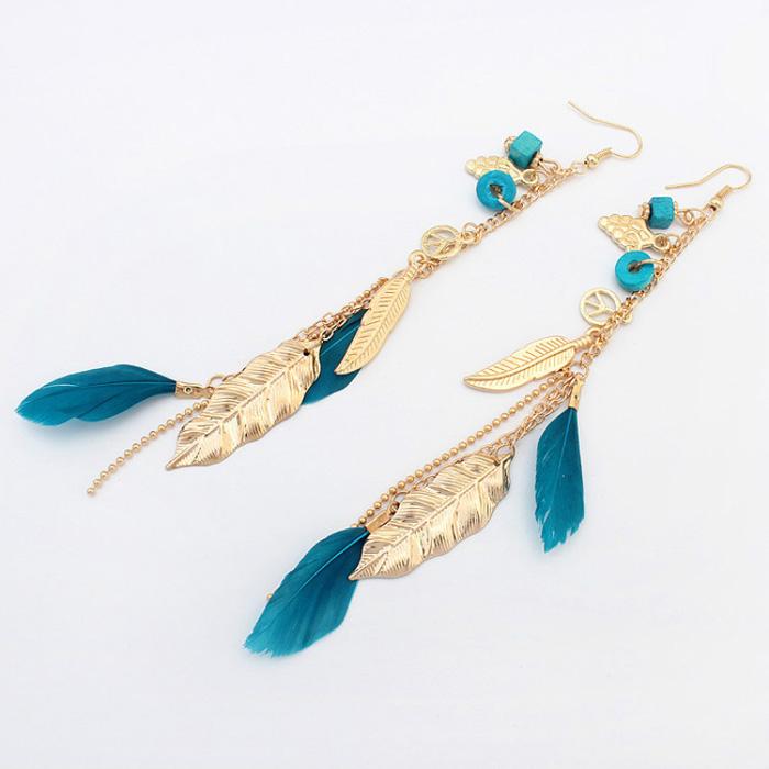 Bohemian veren oorhangers Goud Turquoise