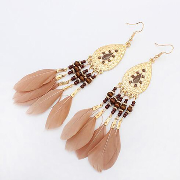 Boho oorbellen Feather Beads Brown