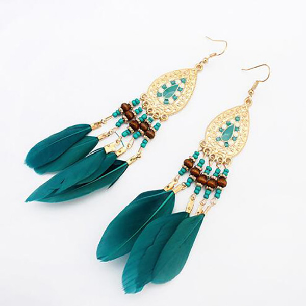 Boho oorbellen Feather Beads Turquoise