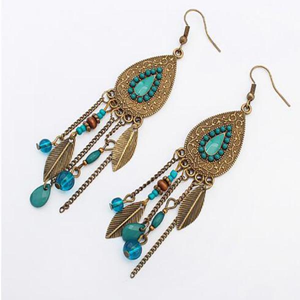 Boho oorhangers Drop Leaf Turquoise Beads