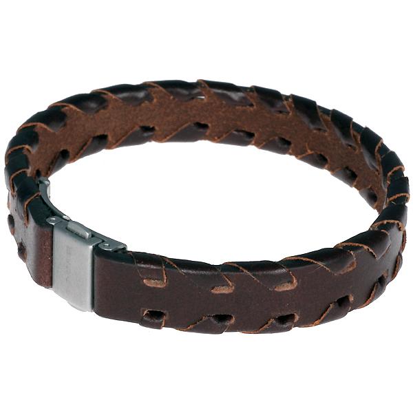 Brace heren armband leer met RVS BR14
