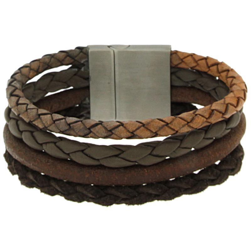 Brace heren armband Leer met RVS BR239005