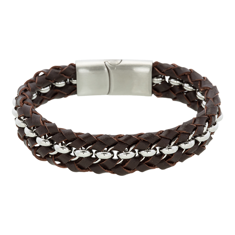 Brace heren armband Leer met RVS BR239022