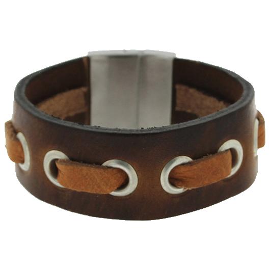 Brace heren armband Leer met RVS Bruin BR239008