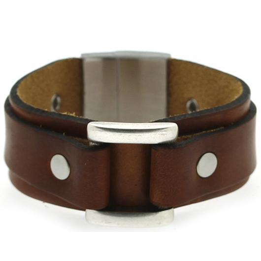 Brace heren armband Leer met RVS Bruin BR239011