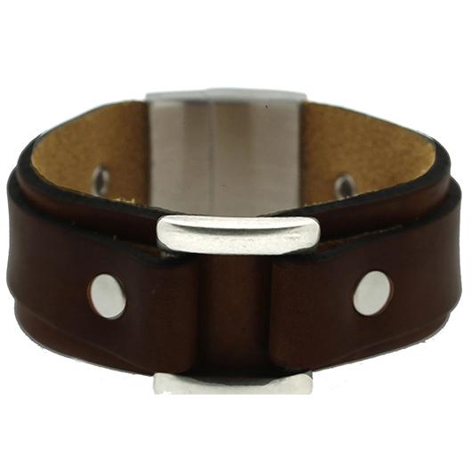 Brace heren armband Leer met RVS Donkerbruin BR239012