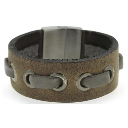 Brace heren armband Leer met RVS Vintage Bruin BR239007