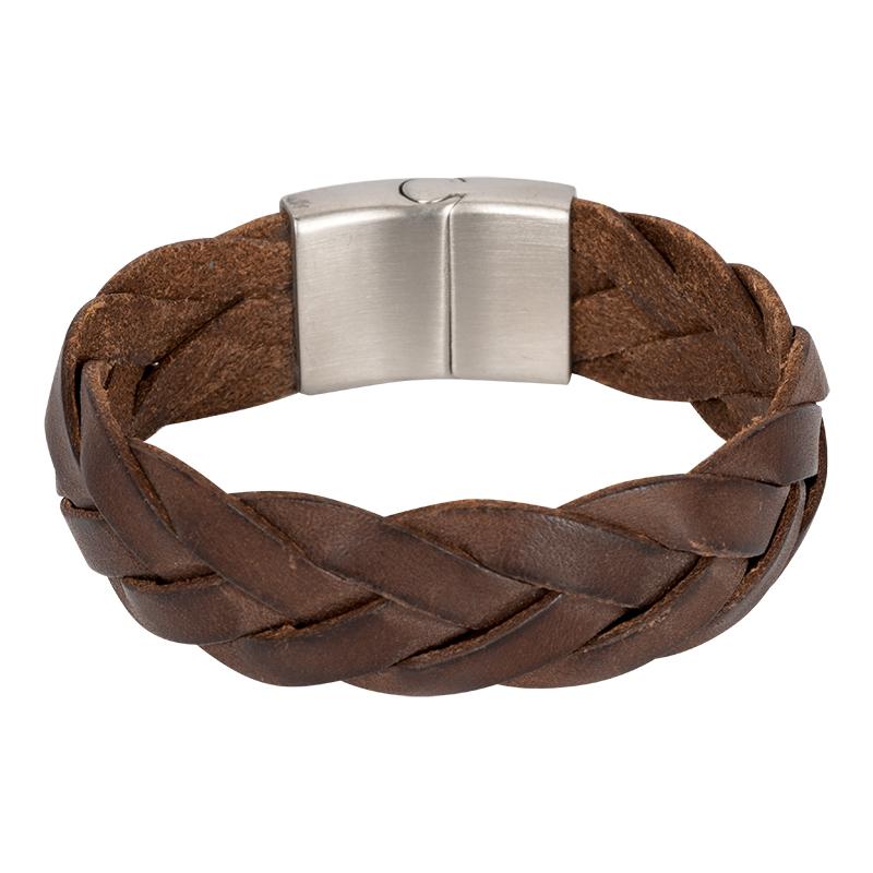 Brace leren armband Gevlochten Bruin BR234021