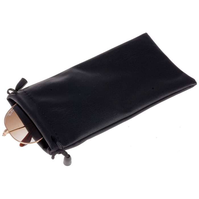 Brillenhoes PU Leer zwart inclusief doekje