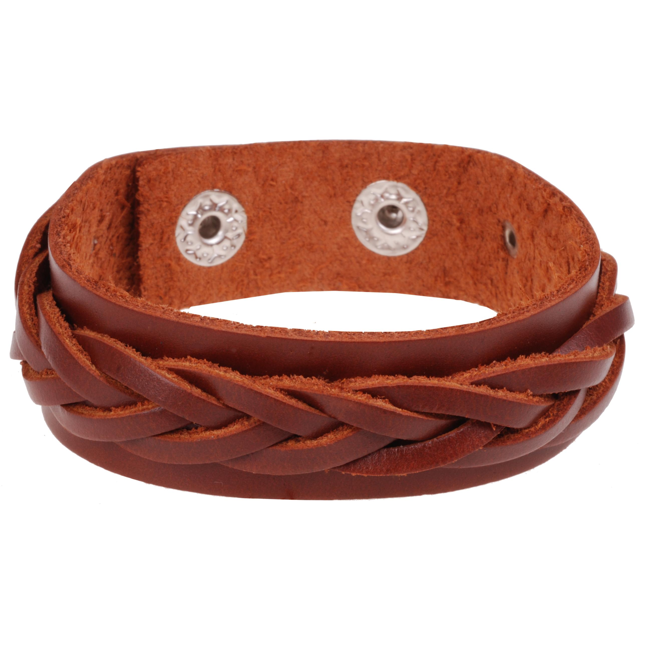 Bruine gevlochten leren heren armband