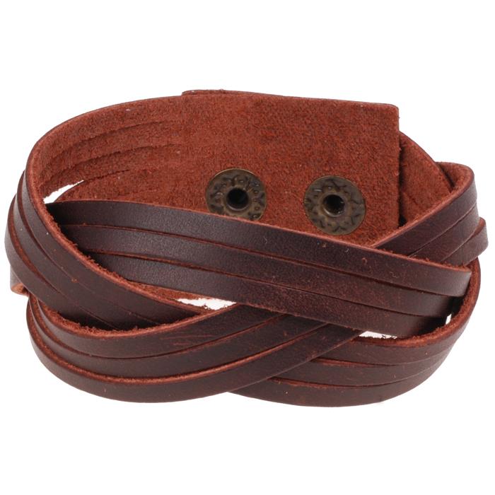 Bruine gevlochten leren Vintage armband