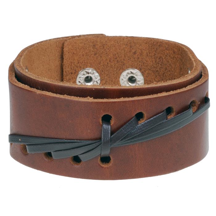 Bruine leren heren armband Weave Snap