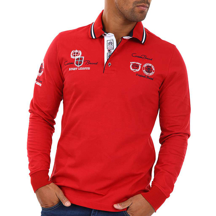 Carisma polo shirt long sleeved Red