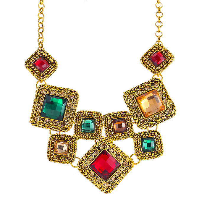Choker ketting Gold Colorful stones
