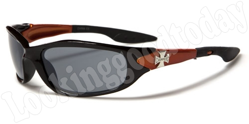 Choppers kinder zonnebril Biker Zwart Koper 2-tone