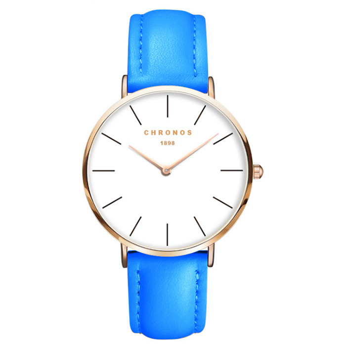 Chronos dames horloge Blue White Rose