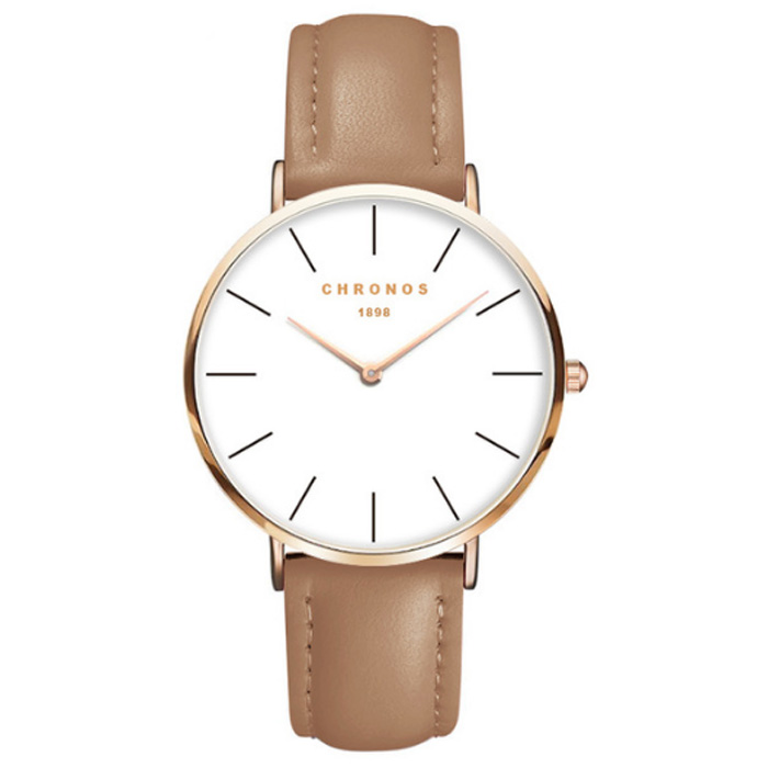 Chronos dames horloge Brown White Rose