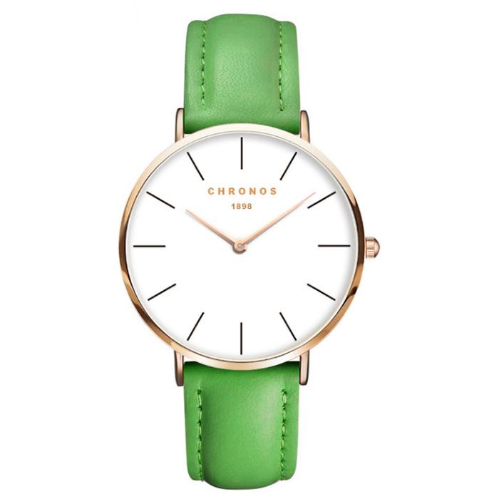 Chronos dames horloge Green White Rose