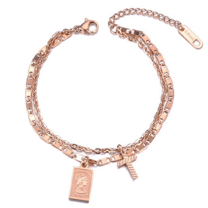 Cilla Jewels Dames Armband Dubbel met Bedels Rose