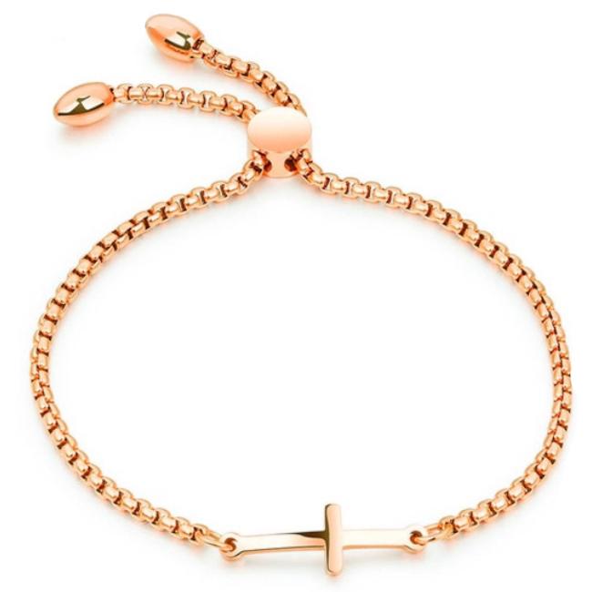 Cilla Jewels Dames Armband met Schuifsluiting en Kruis Rose