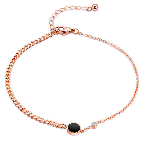 cillajewels Cilla Jewels Dames Enkelband Black Disc met Zirkonia Rose