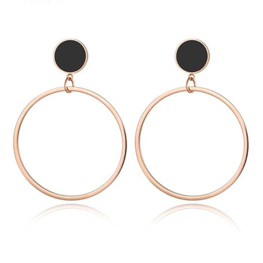 Cilla Jewels Dames oorbellen Circles Rose met Zwart