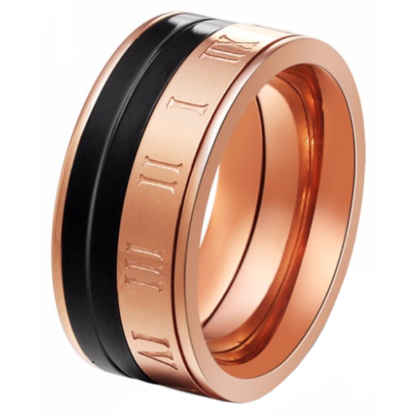 Cilla Jewels dames ring edelstaal Rosegoud Roman Numeral